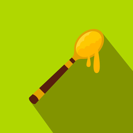 dense: Honey spoon flat icon. Wooden stick with flowing honey drop on green background Illustration