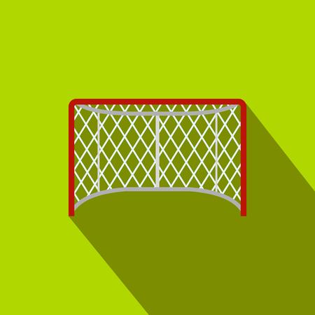 hockey goal: Hockey gates flat icon. Illustration of goal with shadow on green background