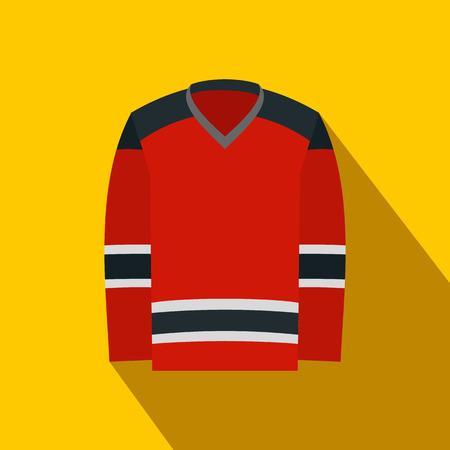 t shirt model: Hockey uniform flat icon. Red hockey shirt with shadow on yellow background