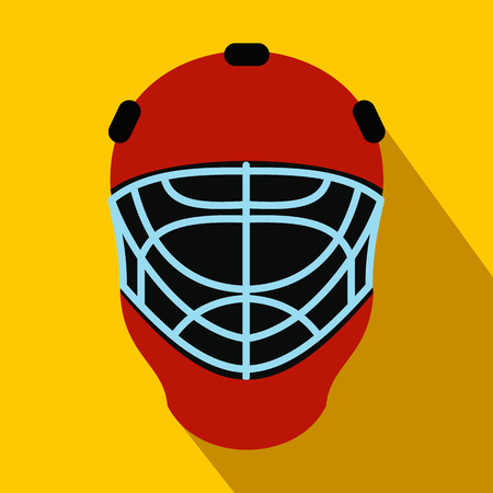visor: Red goalkeeper hockey helmet with metal protect visor. Flat icon with shadow