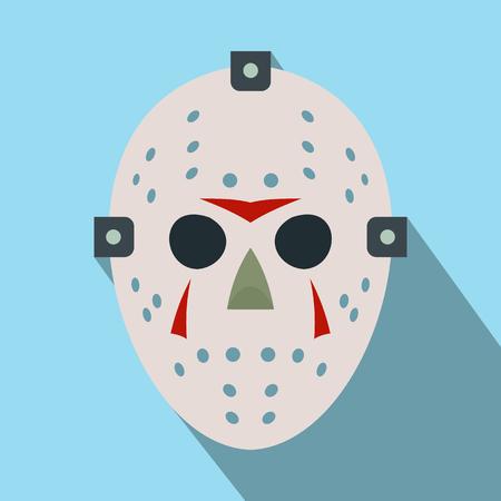 Halloween-Hockey-Maske flach Symbol mit langen Schatten Standard-Bild - 51535452
