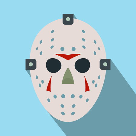 Halloween hockey mask flat icon with long shadow Vettoriali