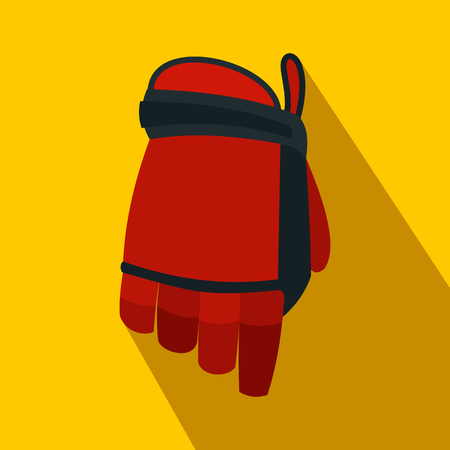 rung: Hockey glove flat icon. Colored symbol with shadow on a yellow background Illustration