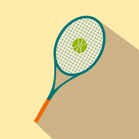 racquet: A tennis racquet and a ball flat icon for web and mobile devices