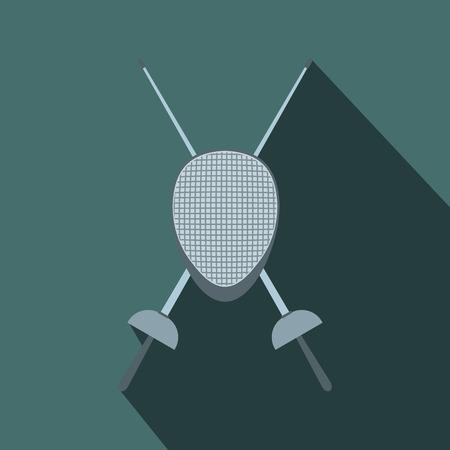 pentathlon: Fencing swords and helmet mask flat icon on a grey background Illustration