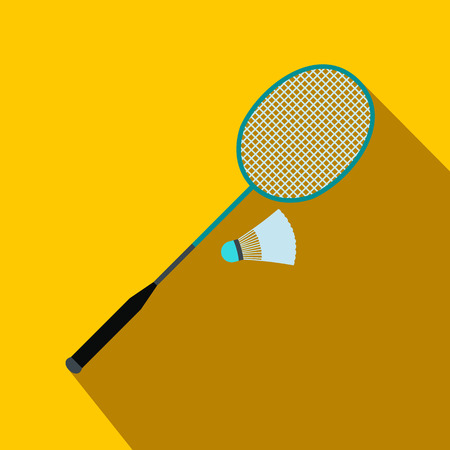 shuttlecock: Badminton racket and shuttlecock flat icon on a yellow background Illustration