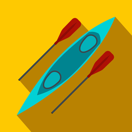 oar: Kayak and rowing oar flat icon on a yellow background Illustration