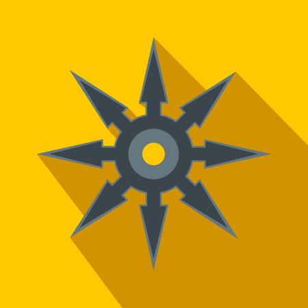 shuriken: Shuriken flat icon on a yellow background