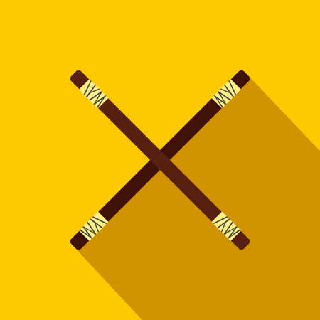 Wooden sword bokken flat icon on a yellow background