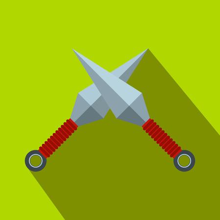 ninja tool: Ninja weapon kunai throwing knifes flat icon on a green background