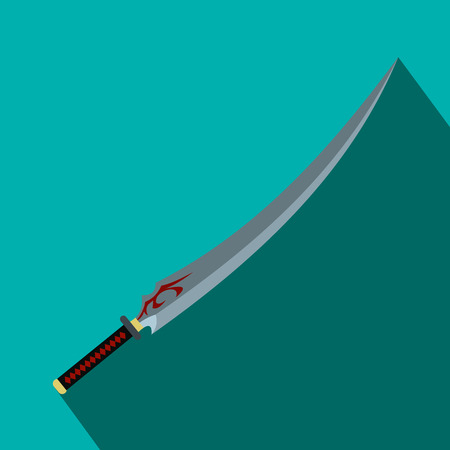 ornamente: Japanese sword flat icon on a blue background