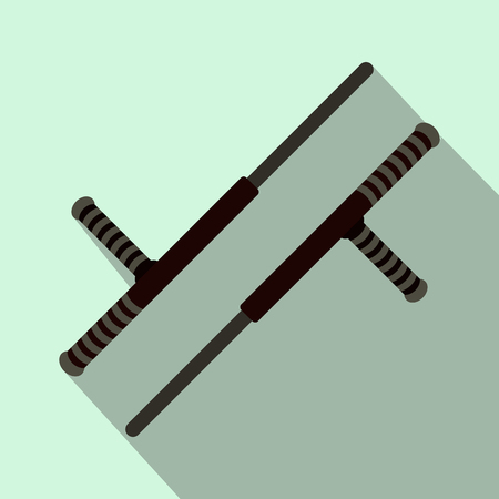 nightstick: Tonfa weapon flat icon on a  light blue background