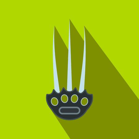 ninja tool: Tekkokagi flat icon on a green background