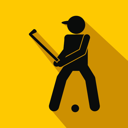 golfer: Golfer silhouette flat icon on a yellow background