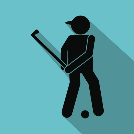 golfer: Golfer silhouette flat icon on a blue background Illustration