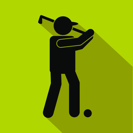 golfer: Golfer silhouette flat icon on a green background Illustration