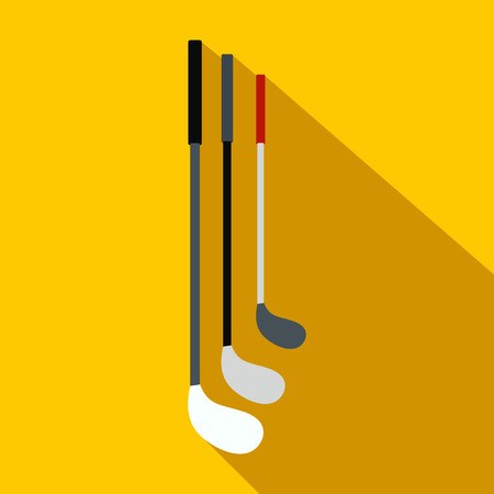 caddy: Golf clubs flat icon on a yellow background