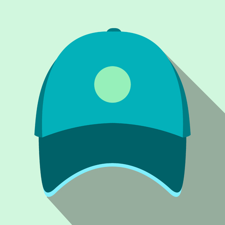 hat with visor: Blue baseball hat flat icon on a light blue background