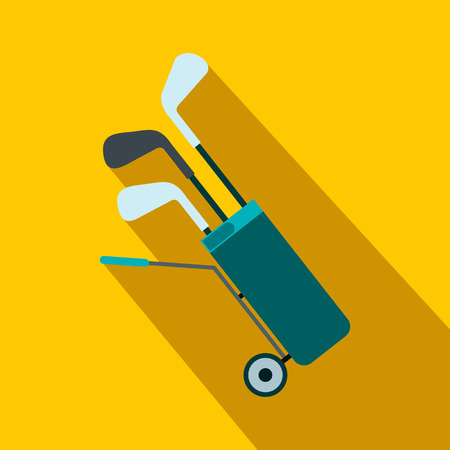 A wheeled golf bag full of golf clubs flat icon on a yellow background
