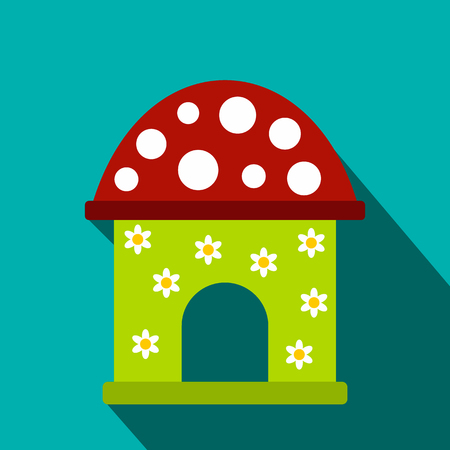 toy house: Toy house flat icon on a blue background