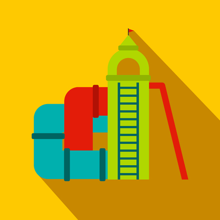 colorful slide: Colorful slide with a roof flat icon on a yellow background Illustration