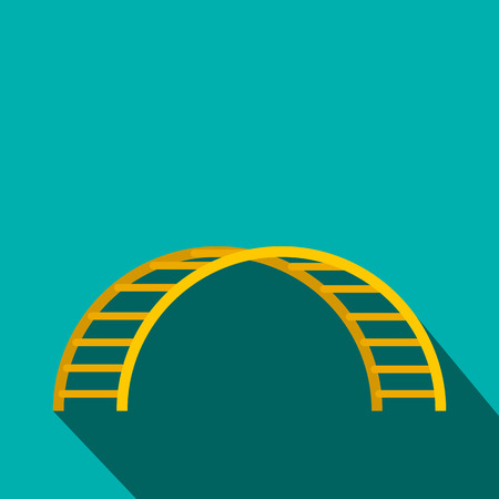 climbing stairs: Climbing stairs flat icon on a blue background