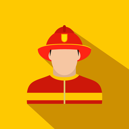 fireproof: Fireman flat icon on a yellow background