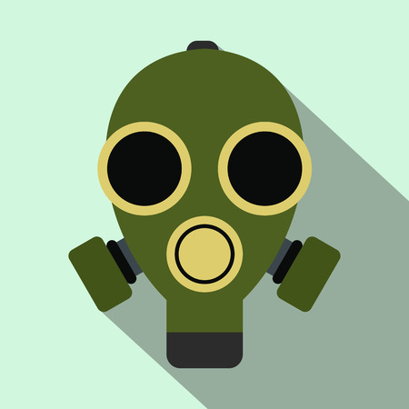 nuclear fear: Gas mask flat icon on light blue background