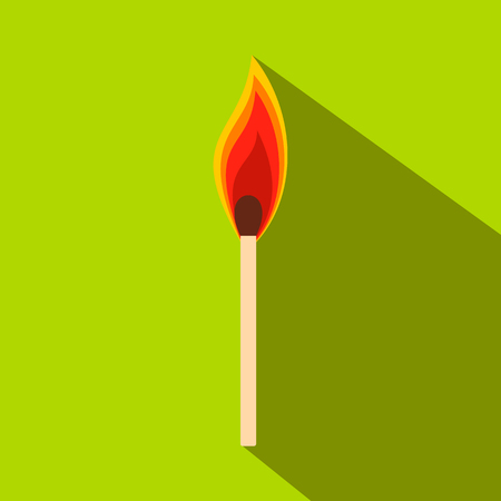 Burning match flat icon on a green background