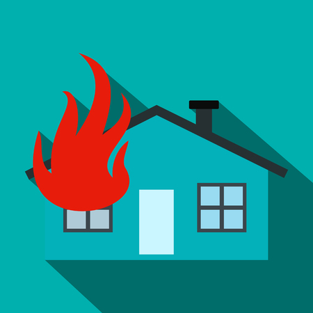 ruined house: House on fire flat icon on a blue background