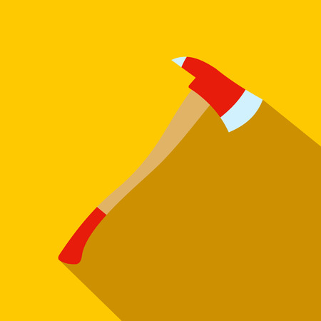 axe: Axe for a firefighter flat icon on a yellow background Illustration