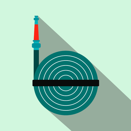 winder: Fire hose winder roll reels flat icon on blue background