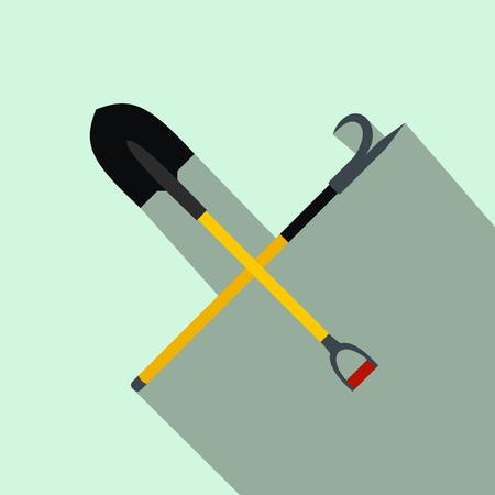 hazardous work: Shovel and scrap flat icon on light blue background Illustration