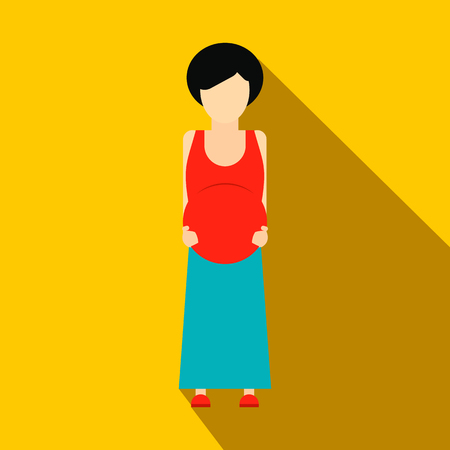 expectant arms: Pregnant woman flat icon on a yellow background