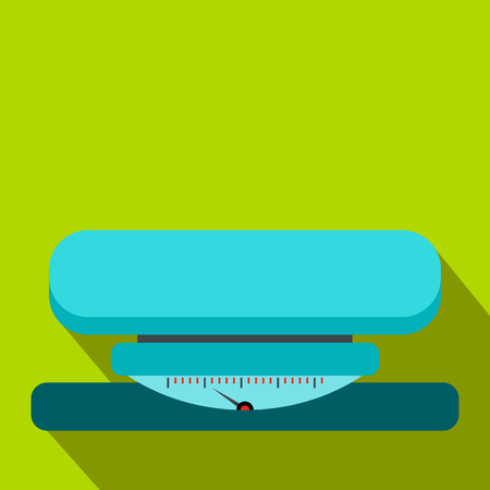 analog weight scale: Weight scale flat icon on a green background