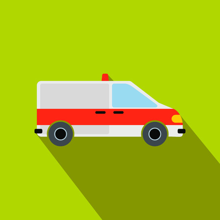 disaster relief: Ambulance car flat icon on a green background Illustration