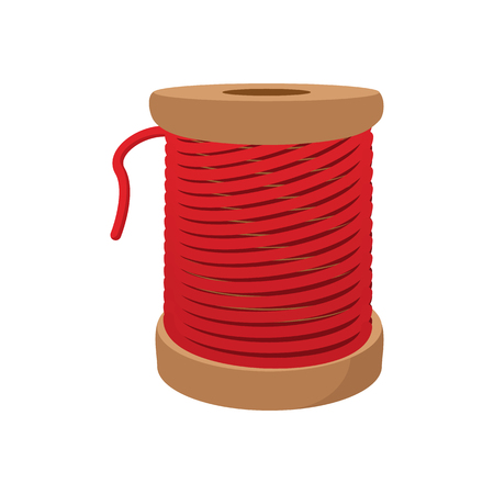spool: Spool of red thread for sewing cartoon icon on a white background