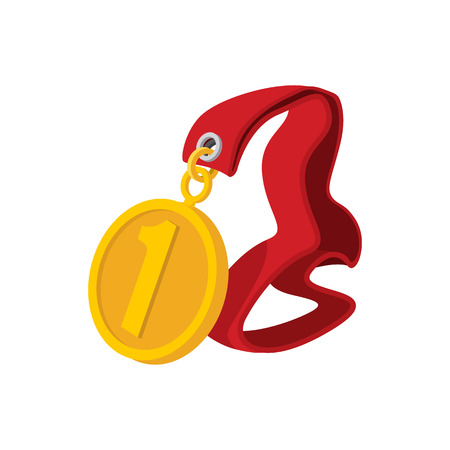 1 place: First place medal on a red ribbon cartoon icon on a white background Illustration