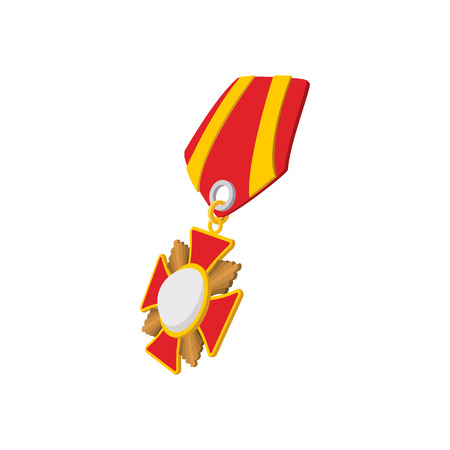 second world war: Star second world war medal cartoon icon on a white background