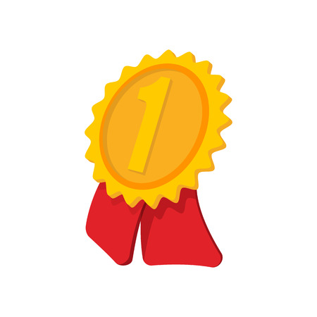 1 place: Gold award ribbon cartoon icon on a white background