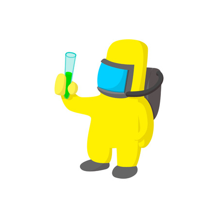nuclear disaster: Scientist in protective suit cartoon icon on a white background Illustration