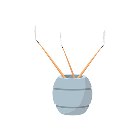 incense: Incense sticks with stand cartoon icon on a white background