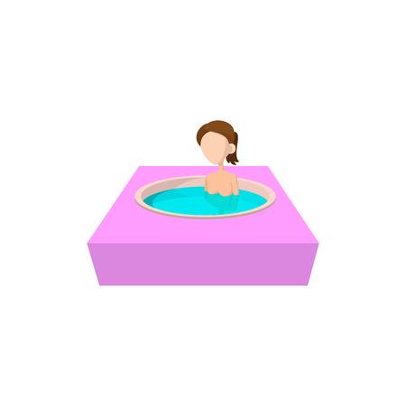 hot tub: Girl taking bath in hot spring bathtub cartoon icon on a white background