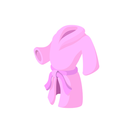 bathrobe: Pink bathrobe cartoon icon on a white background Illustration