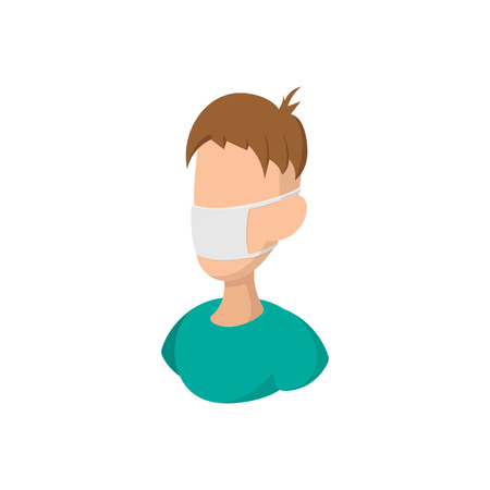 flu prevention: Man wearing medical mask cartoon icon on a white background