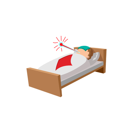 symptom: Sick man in the bed cartoon icon on a white background