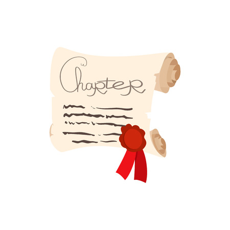 charred: Scroll of paper with a wax seal cartoon icon on a white background Illustration