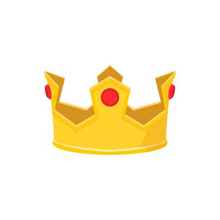 couronne royale: Or icône de bande dessinée de la couronne sur un fond blanc