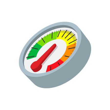 compteur de vitesse: icône de bande dessinée de tachymètre. icône multicolore sur un fond blanc Illustration