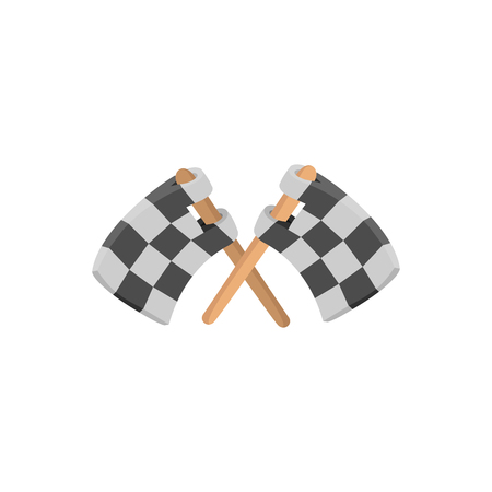racing checkered flag crossed: Finishing flags cartoon icon. Car racing black and white flags on a white background
